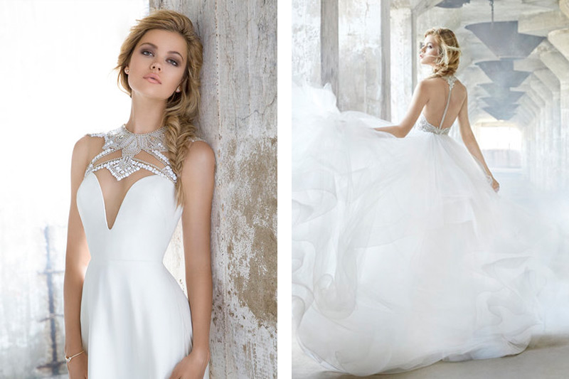 Ivory silk crepe A-line bridal gown by Hayley Paige