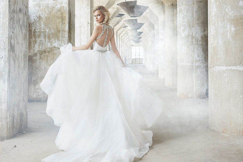 Ivory silk crepe sweetheart bodice by Hayley Paige